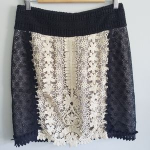 Anthropolgie Leifnotes Lace Crochet Overlay Skirt